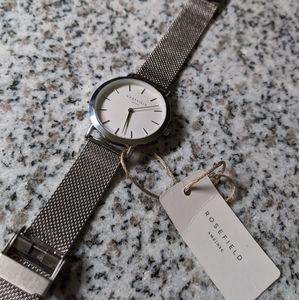 ROSEFIELD The Mercer White Silver Mesh Watch